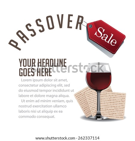 Passover sale wine and matzoh background EPS 10 vector royalty free stock illustration for greeting card, ad, promotion, poster, flier, blog, article, social media, marketing - stock vector