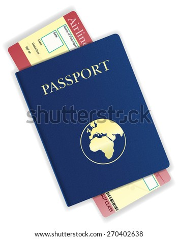 passport and airline ticket vector illustration isolated on white background - stock vector