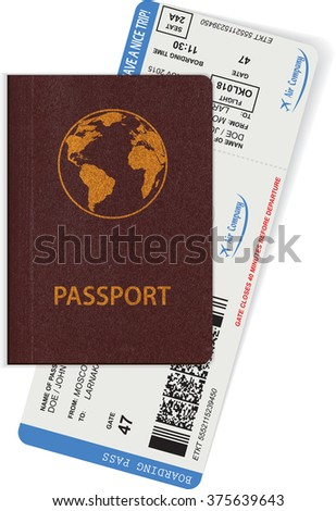 Passport and boarding pass isolated on white background. Travel concept. Vector illustration