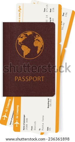 Passport and two boarding passes. Travel concept. Vector illustration - stock vector