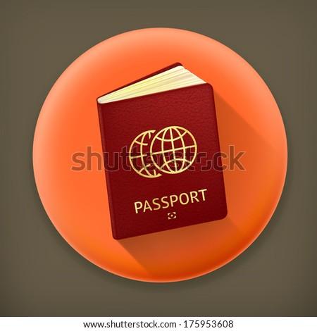 Passport, long shadow vector icon - stock vector