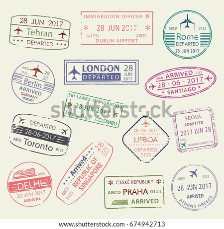 Passport stamp of travel visa isolated set. Italy, Greece, Germany, UK, India, Canada, Portugal and Korea country visa of arrival and departure passport stamp. Tourism, immigration themes design
