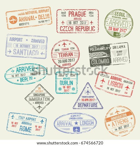 Passport stamps set of international travel visa. Passport visa stamp of London and UK, Rome and Italy, Athens, Greece, Berlin, German, Lisbon, Portugal, Delhi, India countries for travel design