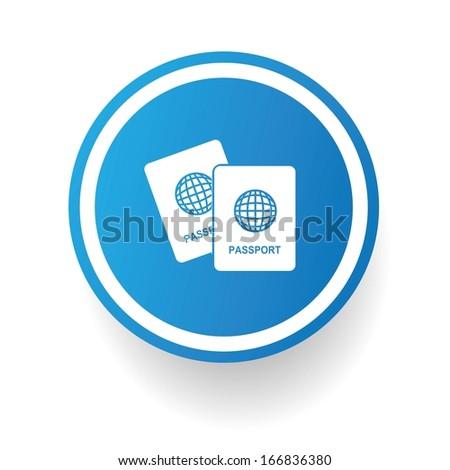 Passport symbol button on White background,vector - stock vector