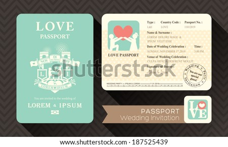 Passport wedding invitation card design template stock vector passport wedding invitation card design template stopboris Gallery