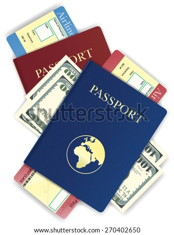 passport whith money and airline ticket vector illustration isolated on white background - stock vector