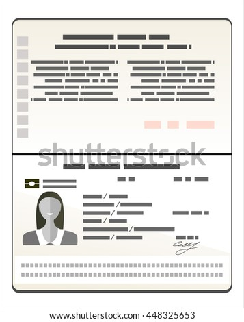 Passport with biometric data. Identification Document Flat Vector Illustration
