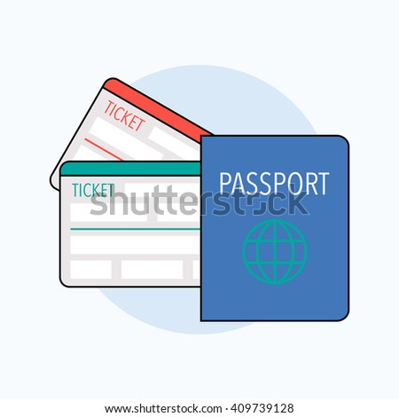 Passport with boarding pass tickets. Travel, holiday or vocation concept. Vector illustration
