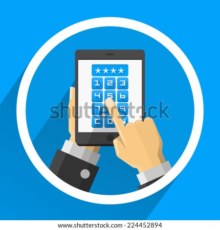 Password screen device. Vector illustration - stock vector