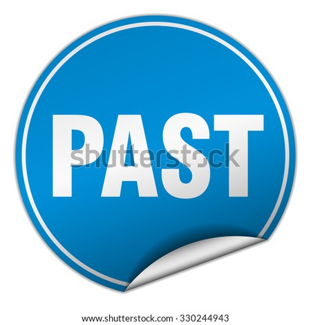 past round blue sticker isolated on white