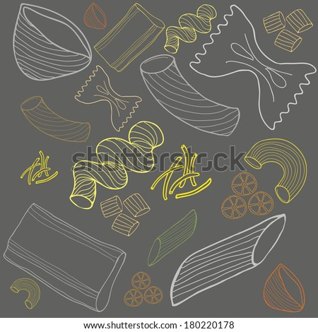 Pasta collection drawings vector set - stock vector