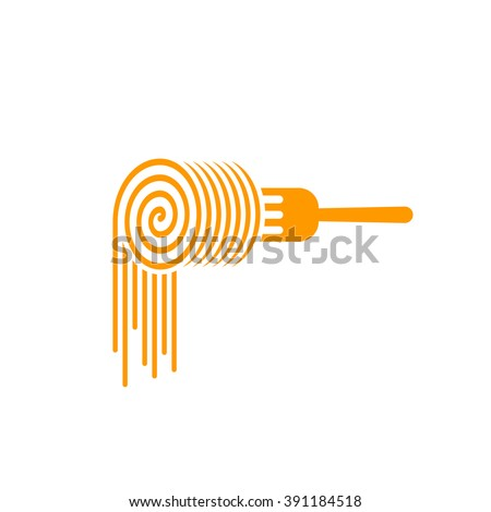 Pasta fork vector logo, fork with pasta roll symbol, concept of noodles brand, food, culinary modern trendy identity, flat pasta logotype design isolated on white background - stock vector