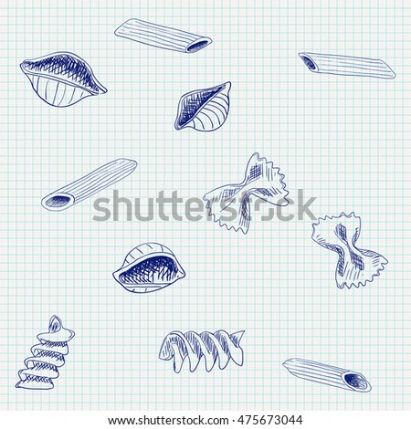 Pasta. Hand drawn sketch on notebook sheet background. Vector illustration