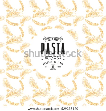 Pasta label and frame with pattern. Color print on white background