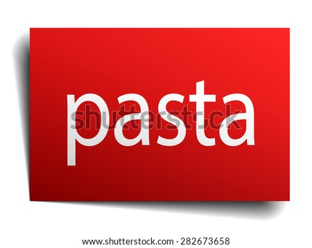 pasta red square isolated paper sign on white