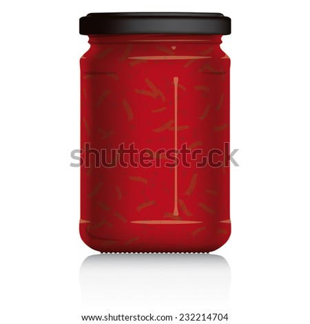 Pasta Sauce Jar vector visual illustration, Drawn with mesh tool. Fully adjustable & scalable. - stock vector
