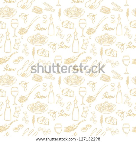 Pasta seamless background - stock vector