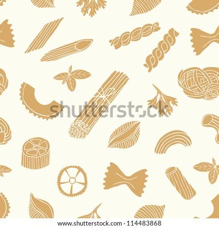 pasta seamless pattern - stock vector