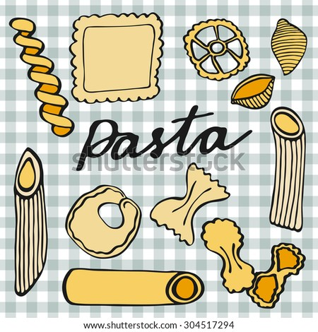 Pasta set. Hand-drawn cartoon kinds of pasta. Doodle drawing. Vector illustration.