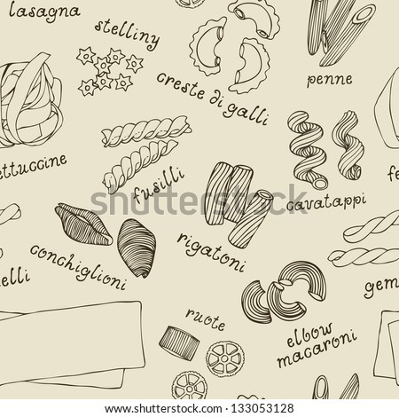 Pasta shapes seamless pattern - stock vector