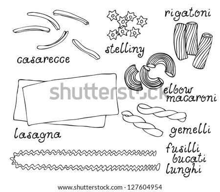 Pasta shapes vector set isolated on a white background - stock vector