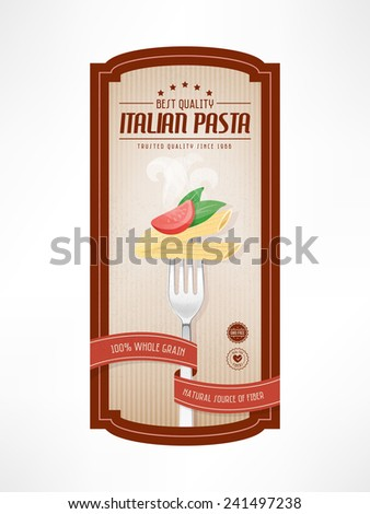 Pasta vintage food label with fork on striped background - stock vector
