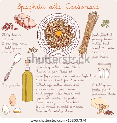 Pasta with bacon and egg sauce. Recipe for spaghetti. - stock vector