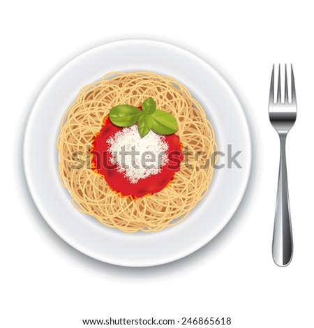 Pasta with tomato sauce isolated on white. Vector illustration - stock vector