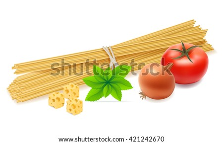 pasta with vegetables vector illustration isolated on white background - stock vector