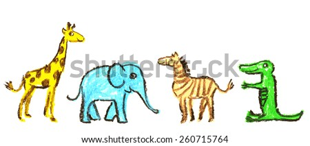 Pastel chalks drawing of animals. The giraffe, zebra, elephant and crocodile. Childish vector set illustration - stock vector