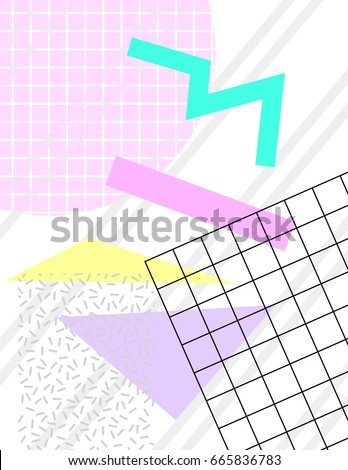 Pastel Chaotic Shapes And Grid On A White Background Trendy Vintage 1980s Memphis Style