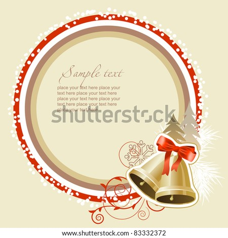 Pastel Christmas frame with gold bells - stock vector