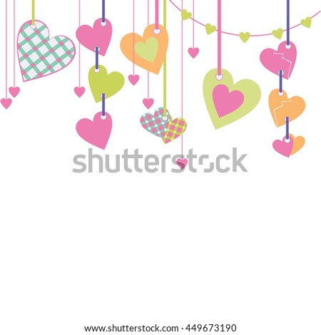 pastel color cartoon hearts hanging lace vector illustration isolated on white background
