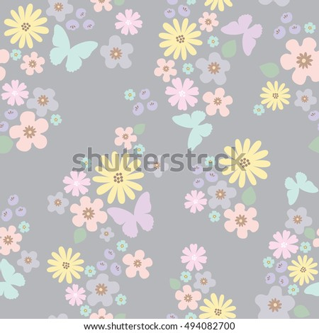 Pastel color flower with butterfly pattern in dark background vector