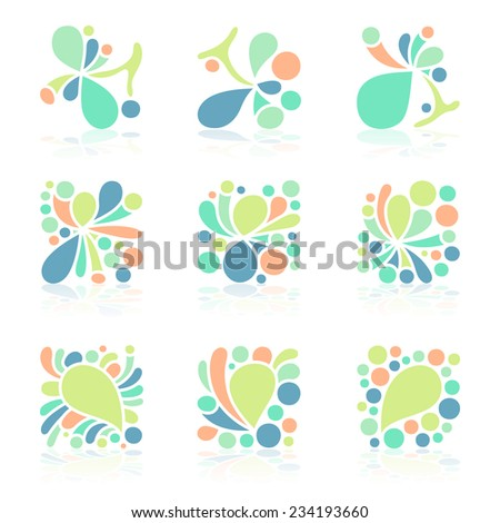Pastel color icon set, vector eps10 format - stock vector