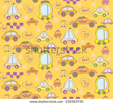 Pastel color seamless pattern with taxi cars for kids or business. Fit for boys and girls.