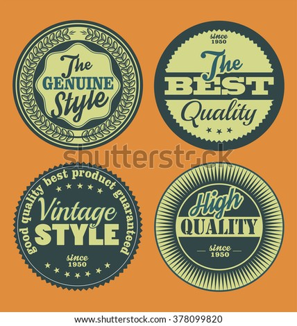 Pastel color vintage labels collection - stock vector