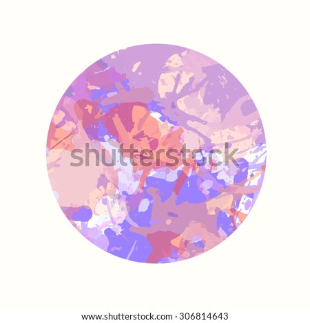 Pastel colored artistic paint splashes in a circle.
