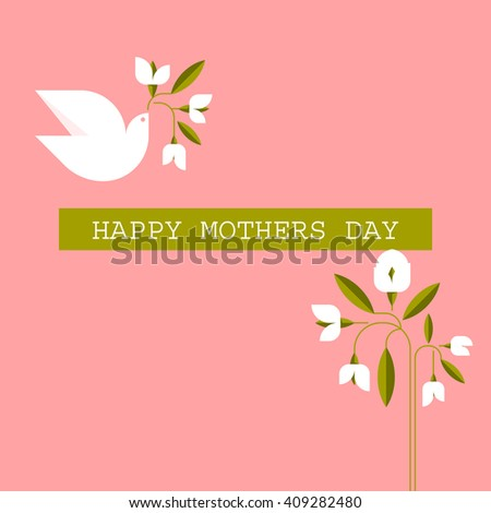 Pastel colored Mothers day cards with dove, spring flowers and greeting text message - stock vector