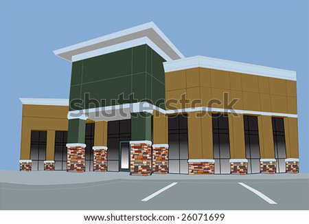pastel colored strip mall with stone accents on columns