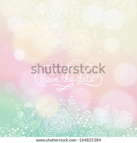 Pastel colored wedding invitation in vector. Delightful Save the Date card in modern style. Adorable romantic card  - stock vector