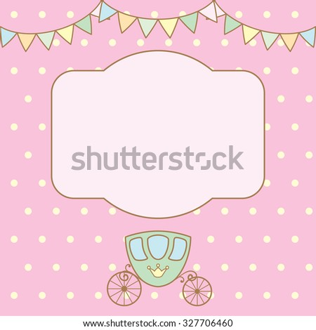 Pastel colour retro polka dot background with frame for text or photo, multicolored buntings garlands and carriage. Vector illustration.
