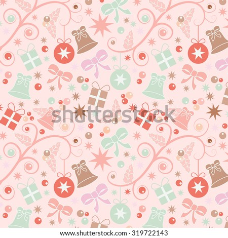 Pastel coloured Christmas seamless pattern with baubles, stars, parcels, bells, holly and ribbons
