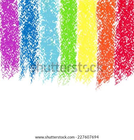 Pastel crayon painted rainbow, vector image - stock vector