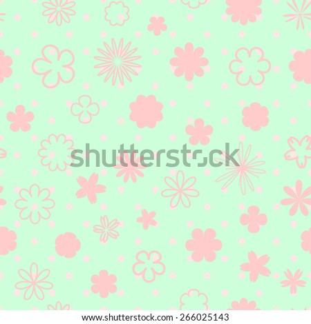 pastel  cute seamless background with a pattern of a variety of small flowers and dots for spring or summer design