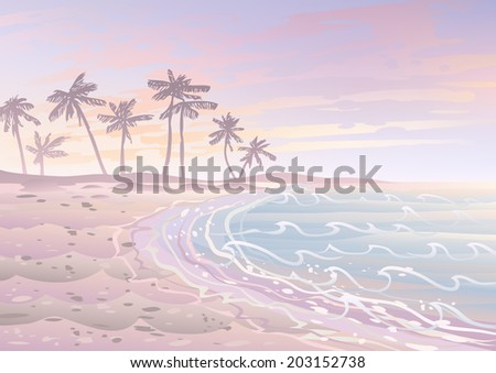 Pastel dream holiday on a beach with sand, sea and palm trees  - stock vector