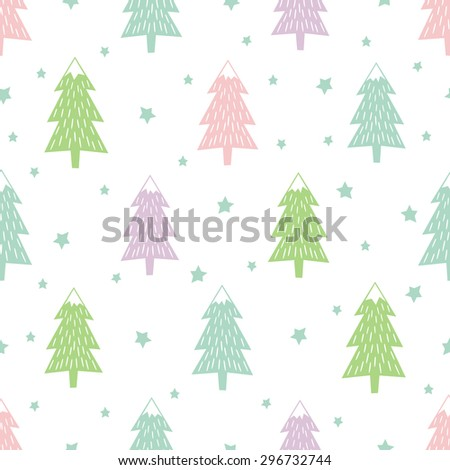 Pastel Happy New Year background. Simple seamless retro Christmas pattern - varied Xmas trees, stars and snowflakes. Vector design for winter holidays. Child drawing style tree. - stock vector