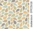 pastel leaves in one pattern - stock vector