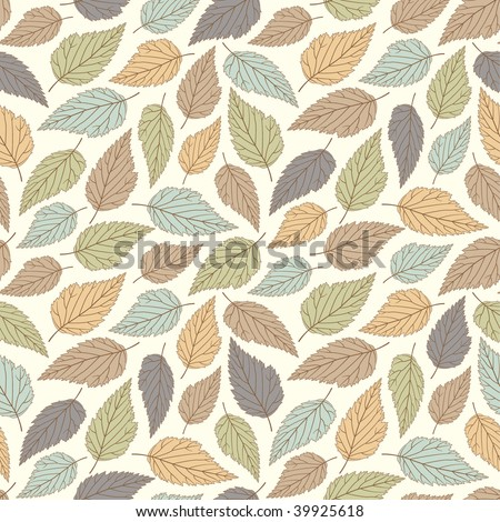 pastel leaves in one pattern