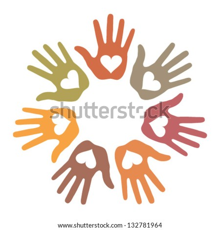 Pastel Loving Hand Print icon, vector illustration - stock vector